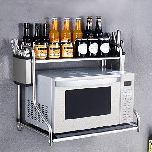Küche Lagerung und Organisation Küche Regal Mikrowelle Ofen Rack Ofen Doppelschicht Multifunktions Edelstahl Wandregal Regale Unter Regallagerung ( größe : 53CM*37CM )