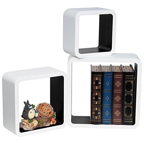 WOLTU RG9236sz Wandregal Schweberegale, 3er Set Lounge Cube Regal, Retro Bücherregal, MDF Holz, DIY zum Hängen, Weiß-schwarz