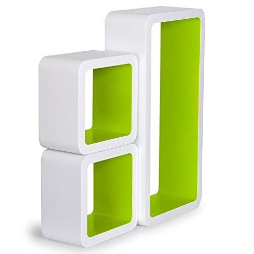 3er Set Wandregal Bücherregal, Cube Regal CD-regal, MDF Holz, Farben auswählbar, Weiß-Grün RG9229gn