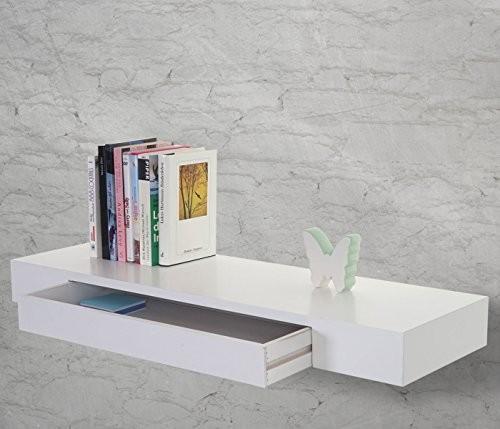 Wandregal Oise, Hängeregal Regal, 80cm Schublade ~ weiß