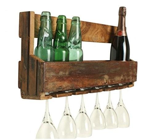 Vintage Wandregal mit Glashaltern Weinregal Küchenregal Natur