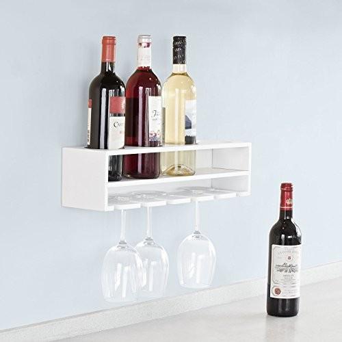 SoBuy® Weinflaschenhalter, Wandregal mit Weinflaschenablage und Weinglashalter, Hängeregal, Gläserhalter,FRG66-L-W