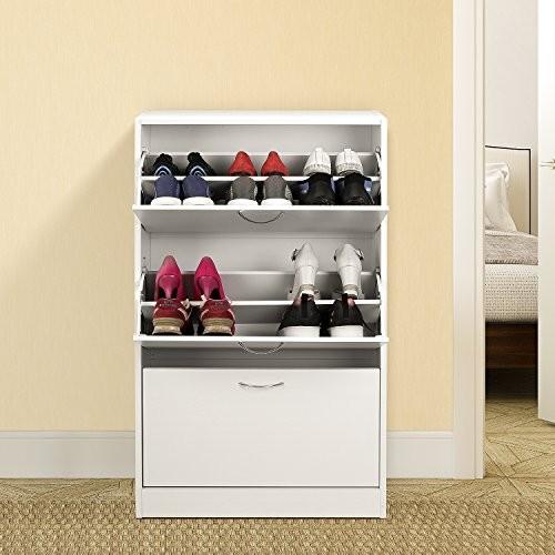 HOMFA Landhaus Schuhschrank Schuhregal Schuhkommode Schuhablage mit Schuhkipper, 2 Schukipper pro Fach, für 18 Schuhe, 115x63x24cm (3 Fächer, Weiß)