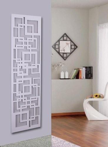Wandgarderobe / Garderobe Design Quadrat, 140x40x2 cm, weiß (Marke: Szagato, Made in Germany) (Kleiderständer, Garderobenständer, Wandpaneel, Wanddeko)