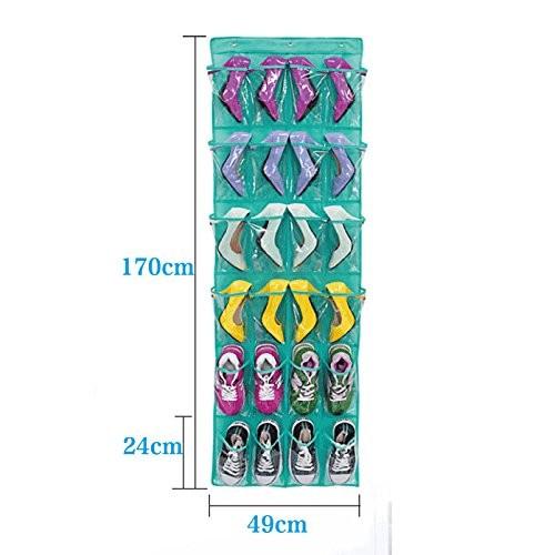 Schuhe-Aufbewahrungstasche Hängeorganizer für Tür mit 24 Taschen mit Tür-Hänger (weiß)
