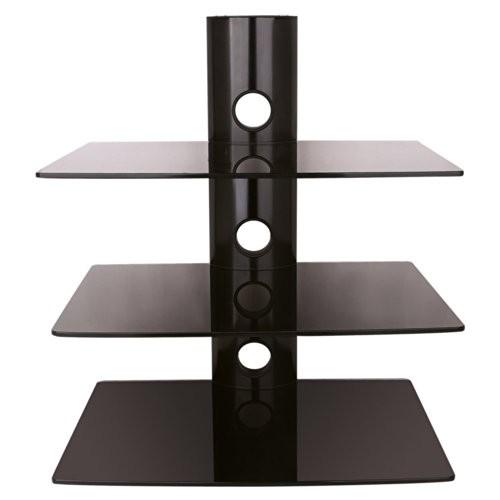 NEG Multimedia TV-Rack SUSPENDER 503B (schwarz) mit 3 Glas-Ablagen (extra groß, 15kg pro Ablage) und Kabelmanagement-System