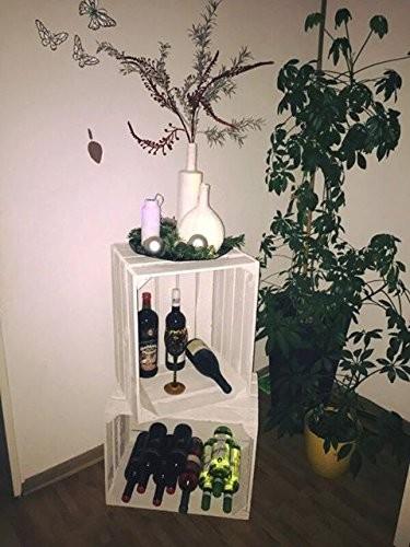 Weinkiste Obstkiste wie aus dem alten Land – natur / geflammt / weiß von Kistenbaron (Weiß, Dreierset)