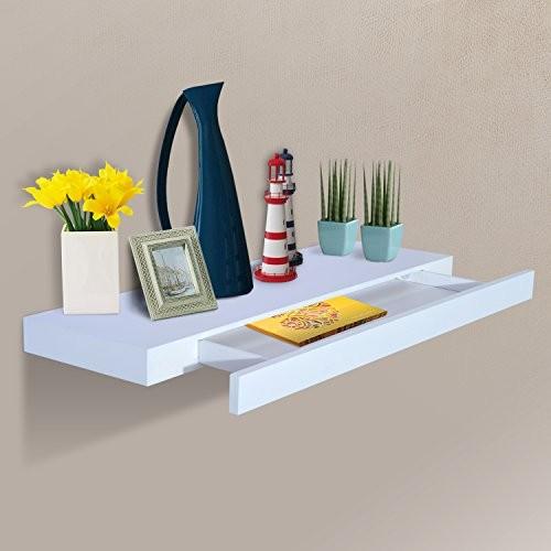 HOMCOM® Wandboard Wandregal Hängeregal mit Schublade Regal Ablage, MDF, Weiß, W80 x D25 x H5cm