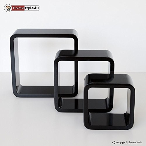 Homestyle4u Retro Cube Design Wandregal Wandboard Regal Würfel 3er Set schwarz