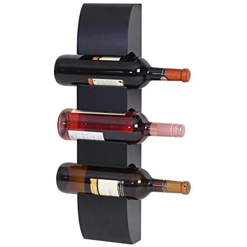 Weinregal Colmar, Flaschenregal Wandregal Holz-Flaschenhalter, für 3 Flaschen 54x13x9cm ~ schwarz