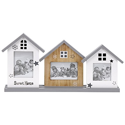 Wandregal mit drei Haus-Bilderrahmen aus Holz, 20 x 18 cm