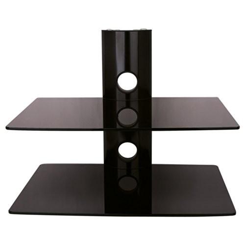 NEG Multimedia TV-Rack SUSPENDER 502B (schwarz) mit 2 Glas-Ablagen (extra groß, 15kg pro Ablage) und Kabelmanagement-System