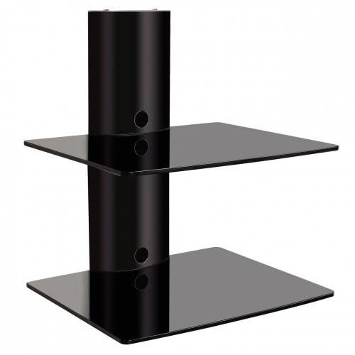 ART Hifi-Glasregal Wandregal 2 Ablagen DVD HiFi Glas Regal Konsole TV Wandhalterung bis 20kg