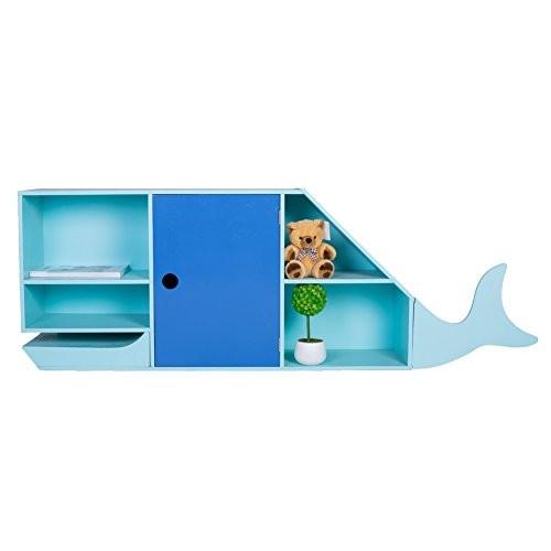 Labebe - Geräumiges Blauwal Nachtkästchen Regal fürs Kinderzimmer