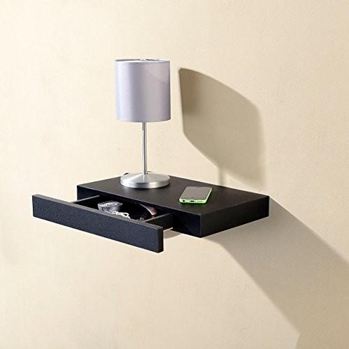 Carlo Milano Regale: Wandregal mit versteckter Schublade, 40 x 5 x 25 cm, schwarz (Wand-Regal)