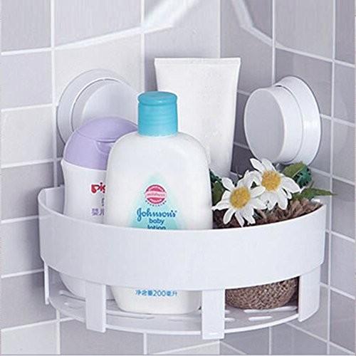 Dreikant Saugnapf Rack Starke Zahnbürstenhalter Zahnpasta Eckregal Badezimmer Wand hängende Aufbewahrung