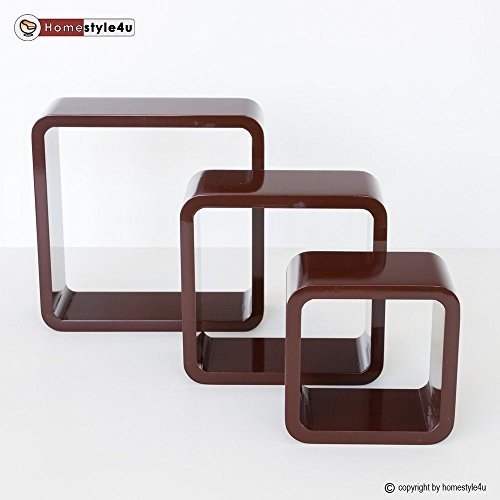 Homestyle4u Retro Cube Design Wandregal Wandboard Regal Würfel 3er Set dunkelbraun
