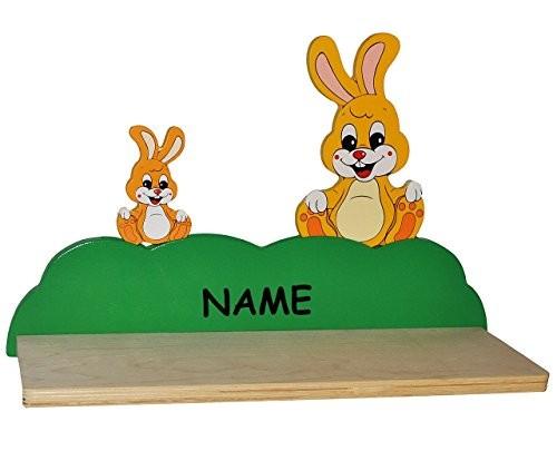 Wandregal aus massiven Holz - Hase / Hasen incl. Namen - Kinderzimmer Wandboard - Tiere - für Kinder Kinderregal / Bücherregal / Hängeregal / Regal Tier - Mädchen Jungen