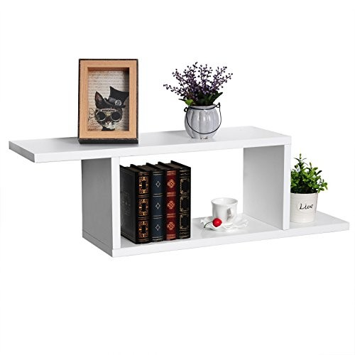 WOLTU RG9272ws-2 2er Set Wandregal Cubes, MDF Holz, Hängeregal Bücherregal, CD/DVD Aufbewahrung, Regal, DIY Würfel, weiß