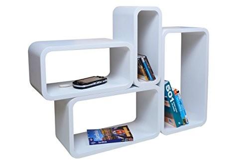 Verstärkte Vielen Farben MDF Retro Design Cube 4er Set Regal Regale Wandregal Deko Würfel CD DVD Lounge Cuben LO01 (Weiß)