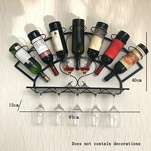 Flashing- Amerikanischen Retro-Stil Eisen Weinregale / Wein Tasse Regal / Weinschrank Inhaber / Wandregal, Bar Restaurant Wohnzimmer Dekoration Rack Wall Frame ( Farbe : Schwarz , größe : 83*13*40cm )
