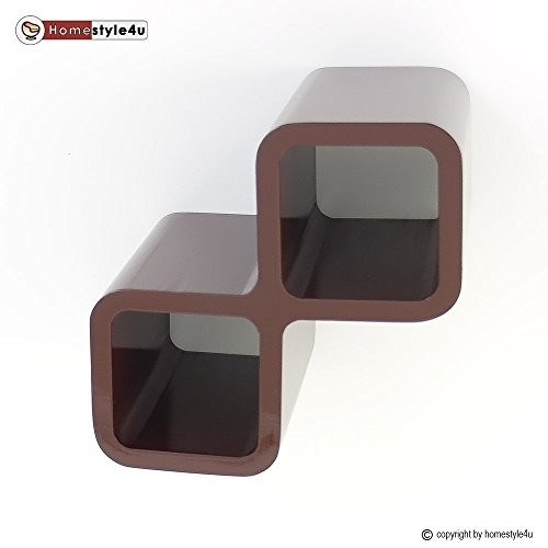 Homestyle4u Retro Cube Design Wandregal Wandboard Regal Würfel Weinregal Wein dunkelbraun
