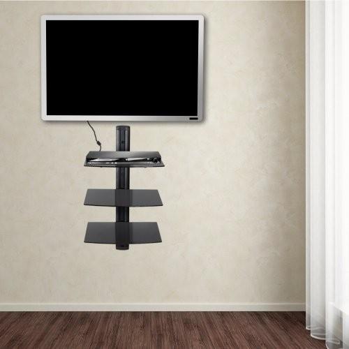 TecTake® Wandregal Glasregal Schwarz (3 Ablageböden) Wandhalterung für DVD Player Hifi Geräte Receiver