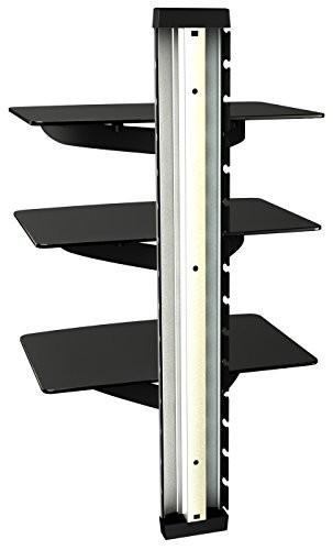 RICOO Wandregal TV Rack Wandhalterung DVD Design Halterung / DVD-S3 / Glasregal Glas Regal HIFI Wandboard Player Receiver Wandhalter / inkl. Alu Kabelkanal / Sicherheitsglas / Silver /
