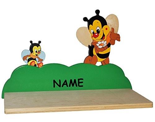 Wandregal aus massiven Holz - Biene / Bienen incl. Namen - Kinderzimmer Wandboard - Tiere - für Kinder Kinderregal / Bücherregal / Hängeregal / Regal Tier - Mädchen Jungen
