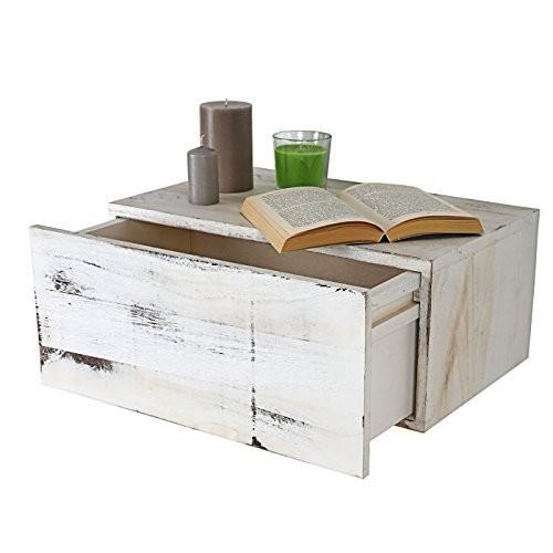 Wandregal Dinant, Schubladen-Regal, Shabby-Look Vintage, 21x46x30cm ~ weiß