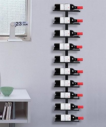 Yahee Weinregal Flaschenregal Aufbewahrungsregal für die Wand aus Metall 10 Flaschen, Schwarz