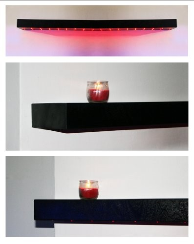 New Gloss Black Wandregal Regal aus Holz, handgefertigt, mit roter LED Beleuchtung