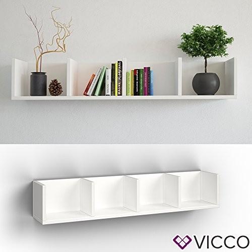 VICCO Wandregal 90 cm Weiß - für CD DVD PC Spiele Cover Medien Regal Archiv Mediathek
