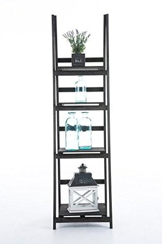 CLP Leiterregal, Treppenregal ALMA, 4 Böden, dekoratives Holz-Regal 150 x 40 x 40 cm dunkelbraun