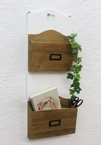 DanDiBo Wandregal mit Herz 12028 Regal 60 cm Vintage Shabby Landhaus Küchenregal Weiß (1)