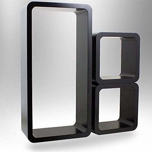 3er SET Wandregalsystem, Wandregal Würfel Cube Wandboard Retro Lounge (Schwarz)