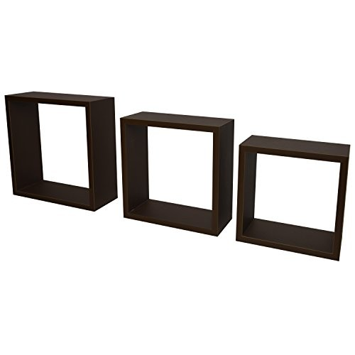 3er Set Cube Design Würfel Wandregal mit versteckter Halterung (frei schwebend) 23cm/26,5cm/30cm in Schoko
