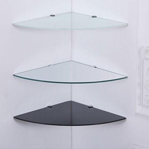 35x35 cm Eckregal Schwarz-Glas 6mm Sicherheitsglas Glasboden Glasplatte Glas-Regal Glasscheibe Wand-Regal Eck Regal Eck-Ablage Regal-Halterungen