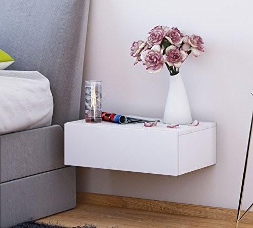 VCM 912088 Nachttisch, Holzstruktur-Nachbildung, weiß, 30 x 46 x 15 cm