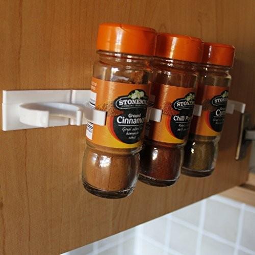3-tlg. Set selbstklebende Gewürzregale Streifen mit Klammern für Marmeladengläser von Kurtzy - für Glas- oder Kunststoffbehälter, klebt an der Schranktür, Schublade o. Wand auch für prof. Einsatz