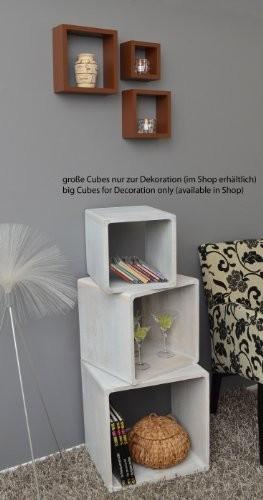 3er Cube Regal Set Design Bücher CD Wandregal Hängeregal Hochglanz Braun
