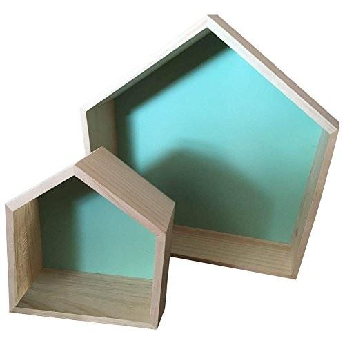 Da Jia Inc 2pcs Haus Design Wandregal Bücher CD Regal Cube Hängeregal holzregal Zimmer Wanddekoration - Mintgrün